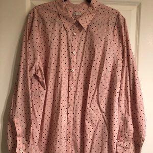 Talbots cotton button down, pink w/ polka dots, 3X